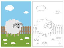 Coloring page book - sheep stock illustration