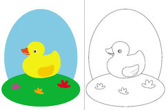 Coloring page book with a small duck Royalty Free Stock Photos