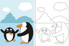 Coloring page book with two funny penguins Royalty Free Stock Photos