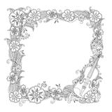 Coloring page - border, square frame with violin isolated on white background. Royalty Free Stock Images