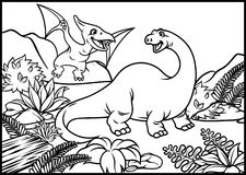 Coloring page of brontosaurus and pterodactyl. Vector of coloring page of brontosaurus and pterodactyl Royalty Free Stock Photography