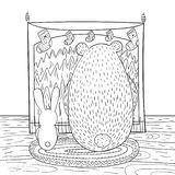 Coloring page brown bear and bunny are sitting in front of fireplace. Fireplace is decorated with Christmas socks. Vector stock illustration