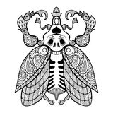 Coloring page of Bug with skull. Zentangle tribal totem insect for adult Coloring books or tattoos with high details  on background. Vector monochrome sketch Royalty Free Stock Photos