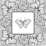 Coloring page with butterfly in the center and pattern of flower Royalty Free Stock Image