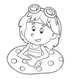 Coloring page - cartoon child having fun - illustration for the children Stock Image