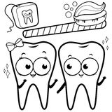 Coloring page cartoon teeth with toothbrush and dental floss Stock Photos