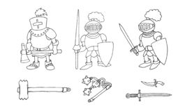 Coloring page of cartoon three medieval knights prepering for Knight Tournament stock image