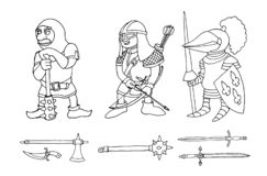 Coloring page of cartoon three medieval knights prepering for Knight Tournament royalty free stock photos