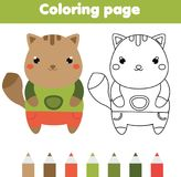 Coloring page with cat. Drawing kids game. Printable activity. Coloring page with cat. Color the picture. Educational children game, drawing kids activity stock illustration