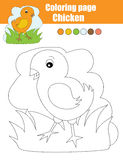 Coloring page with chicken. Educational game, drawing kids activity Royalty Free Stock Photos
