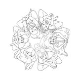 Coloring page The children around the world Royalty Free Stock Photo