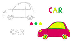 Coloring page for children with car and hand draw letters. Vector illustration royalty free illustration