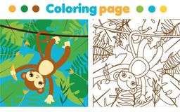 Coloring page for children. Monkey in jungle. Drawing kids activity. Printable toddlers fun Royalty Free Stock Photos