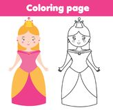 Coloring page for children. Princess. Drawing kids game. Printable activity. Coloring page. Cute princess. Color the picture. Educational children game, drawing Stock Photo