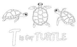 Coloring page for children - turtle stock illustration