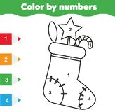 Coloring page with Christmas sock. Color by numbers educational children game, drawing kids activity. New Year holidays theme Stock Photos