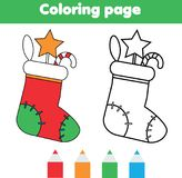 Coloring page with Christmas sock with gifts. Drawing kids game. Printable activity. New year winter holidays theme. Coloring page with Christmas sock with gifts Stock Images