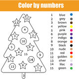 Coloring page with Christmas tree. Color by numbers. Task, printable worksheet for kids preschool age Stock Image