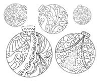 Coloring page with Christmas tree ornaments. Christmas fir tree ornament adult coloring page. Royalty Free Stock Image
