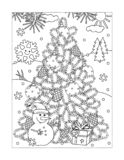 Coloring page with christmas tree, snowman, gift royalty free illustration