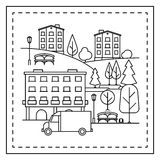 Coloring page with city landscape Royalty Free Stock Photos