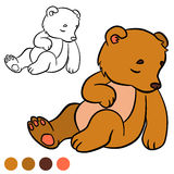 Coloring page. Color me: bear. Little cute baby bear. Royalty Free Stock Photo