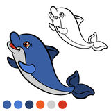 Coloring page. Color me: dolphin. Little cute baby dolphin swims Royalty Free Stock Photography