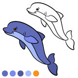 Coloring page. Color me: dolphin. Little cute dolphin jumps and Stock Image