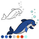 Coloring page. Color me: dolphin. Little cute dolphin jumps and Stock Photography