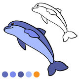Coloring page. Color me: dolphin. Little cute dolphin jumps and Stock Photo