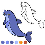 Coloring page. Color me: dolphin. Little cute dolphin jumps and Royalty Free Stock Photography