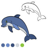 Coloring page. Color me: dolphin. Little cute dolphin smiles. Coloring page. Color me: dolphin. Little cute dolphin jumps and smiles. He is happy Royalty Free Stock Images