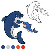 Coloring page. Color me: dolphin. Mother dolphin swims with her Royalty Free Stock Photos
