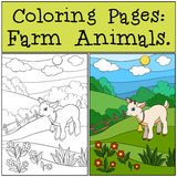 Coloring page. Color me: goat. Little cute baby goat. Coloring page. Color me: goat. Little cute baby goat jumps and smiles Royalty Free Stock Photography