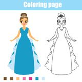 Coloring page princess. Educational game. Printable activity for toddlers. Coloring page. Color the picture. Educational game, drawing kids activity, printable Stock Photos