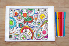 Coloring page with coloring in pens Stock Photo