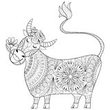 Coloring page with Cow, zenart stylized hand drawing Milker illustration, tribal totem, mascot, doodle animal for art therapy boo