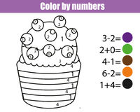 Coloring page with cupcake. Color by numbers educational children game, drawing kids activity. Math game. Coloring page. Halloween cupcake. Color by numbers stock illustration