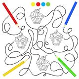 Coloring page with cupcake drawing game for children Stock Image