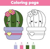 Coloring page with cute cactus. Drawing kids game. Printable activity Stock Photos