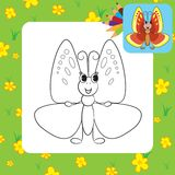 Coloring page. Cute cartoon butterfly Royalty Free Stock Images