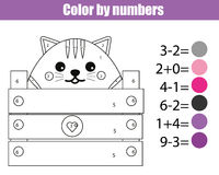 Coloring page with cute cat character. Color by numbers educational children game, drawing kids activity. Math game Stock Photos