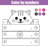 Coloring page with cute cat character. Color by numbers educational children game, drawing kids activity. Coloring page with cute cat character. Color by stock illustration