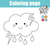 Coloring page with cute cloud character. Educational game, printable drawing kids activity. Coloring page with cute cloud character. Color the picture drawing Stock Image