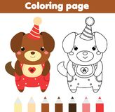 Coloring page with cute dog. Drawing kids game. Printable activity Stock Image