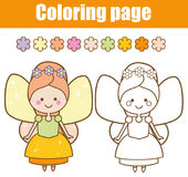 Coloring page with cute fairy character in kawaii style. Drawing kids game. Printable activity. Coloring page with cute winged fairy in kawaii style. Color the Royalty Free Stock Image