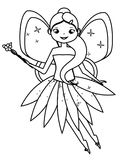 Coloring page with cute flying fairy character. Drawing kids game. Printable activity. Coloring page with cute flying fairy holding flower magic wand. Color the Royalty Free Stock Image