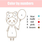 Coloring page with cute girl character. Color by numbers educational children game, drawing kids activity. Coloring page with cute girl character. Color by stock illustration