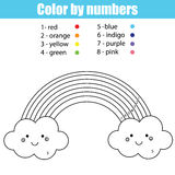 Coloring page with cute kawaii rainbow. Color by numbers Stock Images