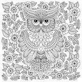 Coloring page with cute owl and floral frame. Stock Photo